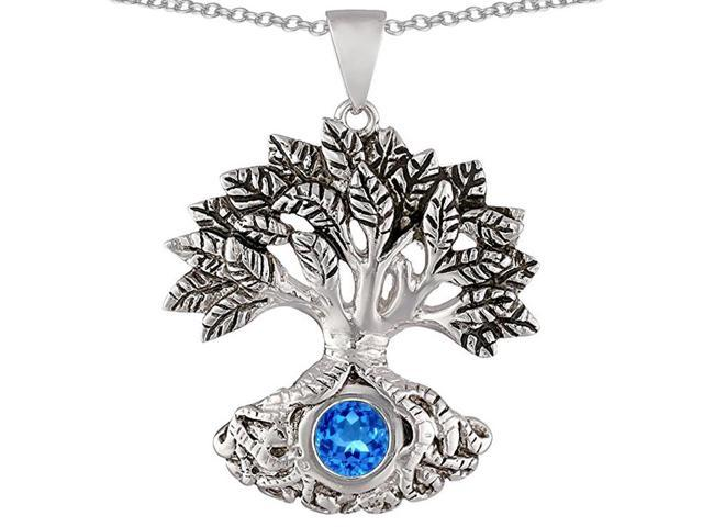 Star K Tree Of Life Good Luck Pendant Necklace with 7mm Round Simulated Blue Topaz in Sterling Silver
