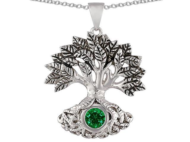 Star K Tree Of Life Good Luck Pendant Necklace with 7mm Round Simulated Emerald in Sterling Silver