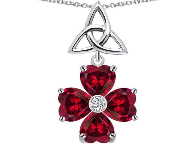 Star K Lucky Shamrock Celtic Knot Made with Heart 6mm Created Ruby in Sterling Silver