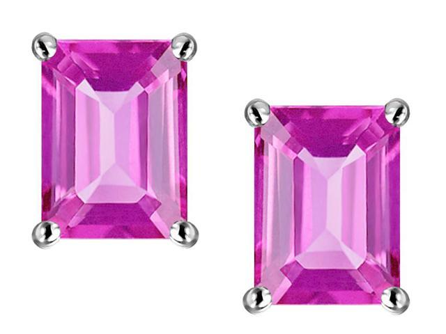 Star K 8x6mm Emerald Cut Created Pink Sapphire Earrings in Sterling Silver