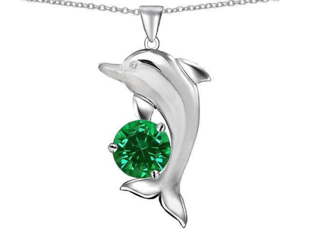 Star K Round 7mm Simulated Emerald Good Luck Dolphin Pendant Necklace in Sterling Silver