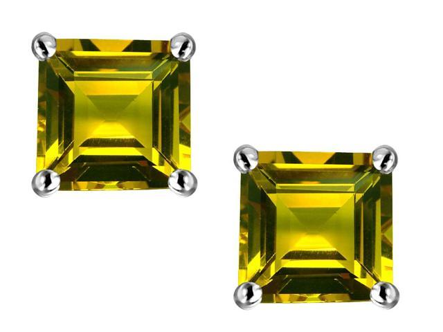 Star K Square 7mm Simulated Citrine Earrings Studs in Sterling Silver