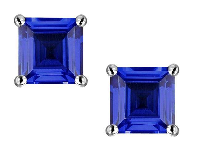 Star K 3.00 Ct. TW. 7mm Square Created Sapphire Sterling Silver  Earrings