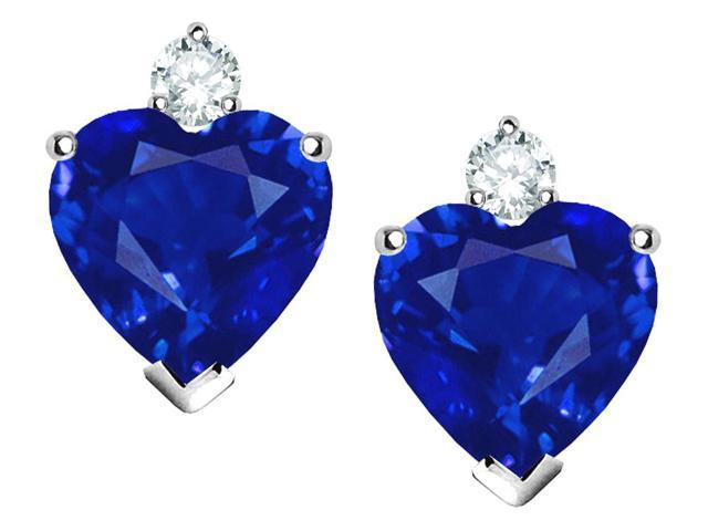 Star K Heart Shape 7mm Simulated Sapphire Earrings in Sterling Silver