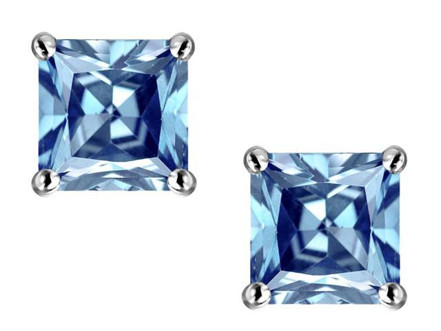 Star K Square Cut 7mm Simulated Aquamarine Earrings in Sterling Silver