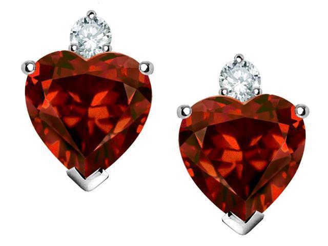 Star K 7mm Heart Shape Simulated Garnet Earrings in Sterling Silver