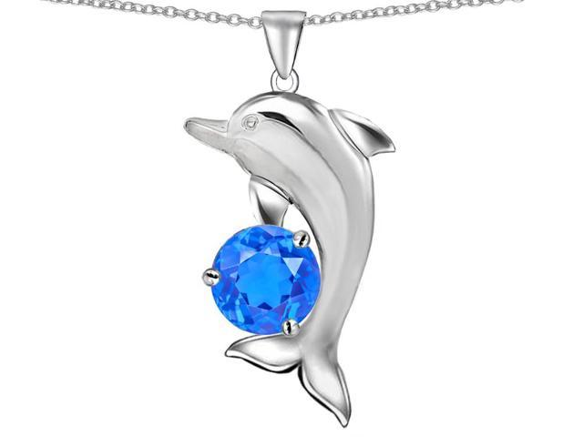 Star K Round 7mm Simulated BlueTopaz Good Luck Dolphin Pendant Necklace in Sterling Silver
