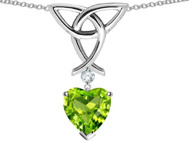Star K Love Knot Pendant with Heart Shape Simulated Peridot in Sterling Silver