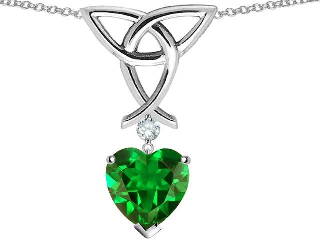 Star K Love Knot Pendant with 8mm Heart Shape Simulated Emerald in Sterling Silver