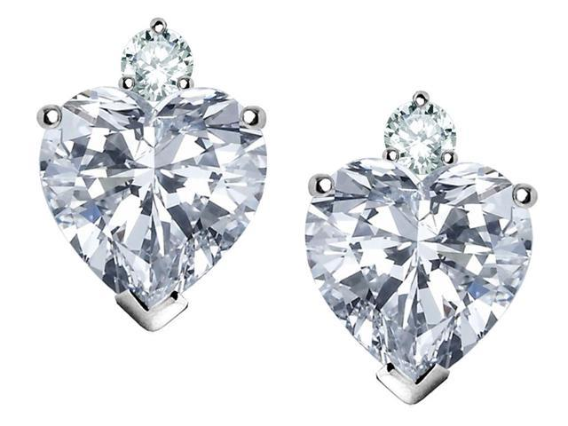 Star K 7mm Heart Shape White Topaz Earrings in Sterling Silver