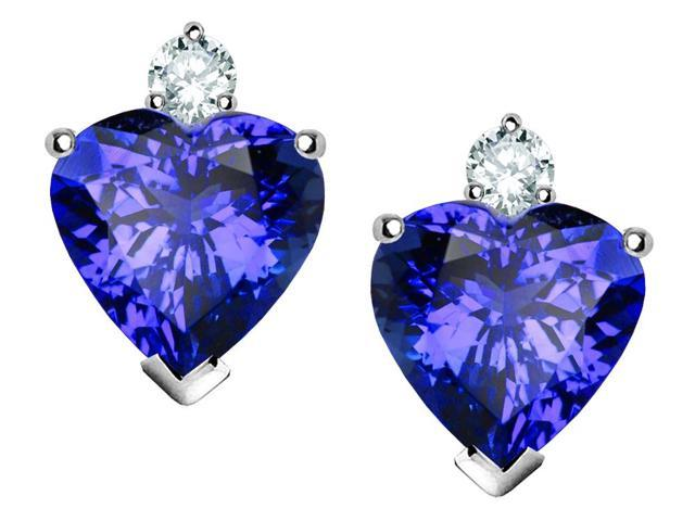 Star K Heart Shape 7mm Simulated Tanzanite Earrings in Sterling Silver