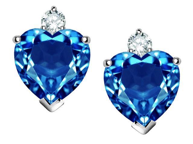 Star K 7mm Heart Shape Simulated Blue Topaz Earrings in Sterling Silver