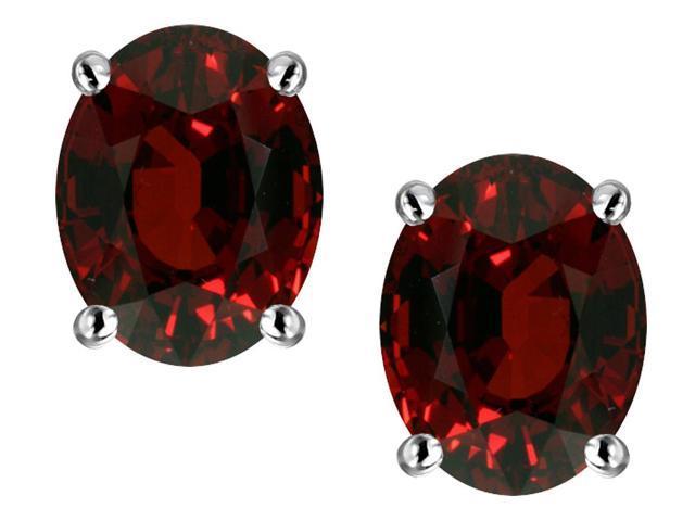 Star K Oval 8x6mm Simulated Garnet Earrings Studs in Sterling Silver
