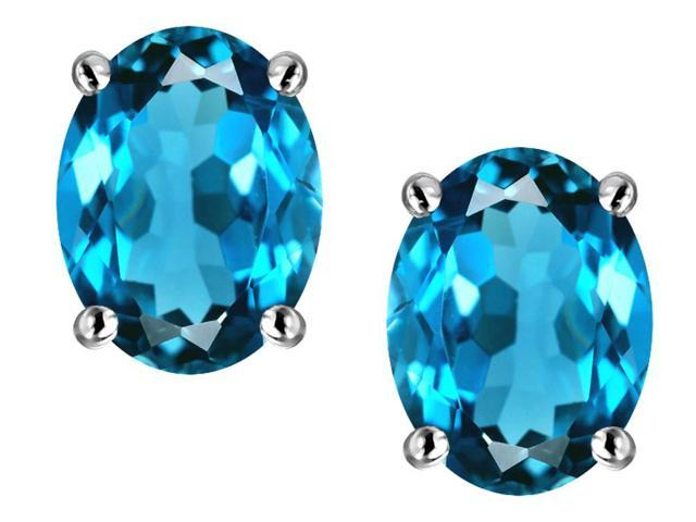 Star K Oval 8x6mm Simulated Blue Topaz Earrings Studs in Sterling Silver