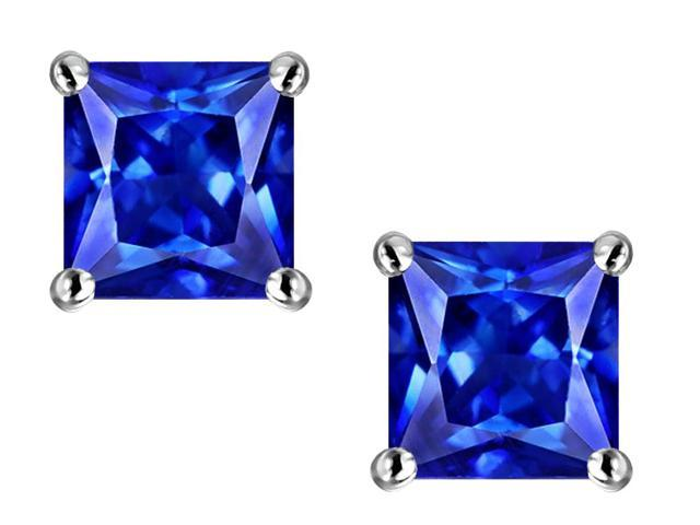 Star K Square 7mm Simulated Tanzanite Earrings in Sterling Silver