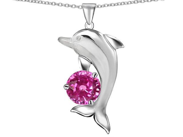 Star K Round 7mm Created Pink Sapphire Good Luck Dolphin Pendant Necklace in Sterling Silver