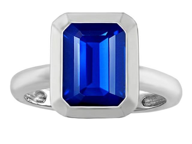Star K 9x7mm Emerald Cut Octagon Solitaire Ring with Created Sapphire in Sterling Silver Size 5
