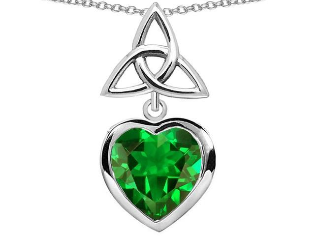 Star K Celtic Knot Pendant Necklace with Heart 9mm Simulated Emerald in Sterling Silver
