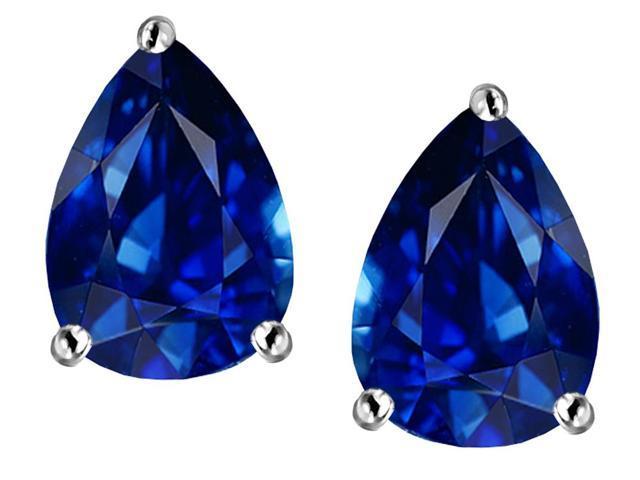 Star K Pear Shape 9x7mm Created Sapphire Earrings Studs in Sterling Silver