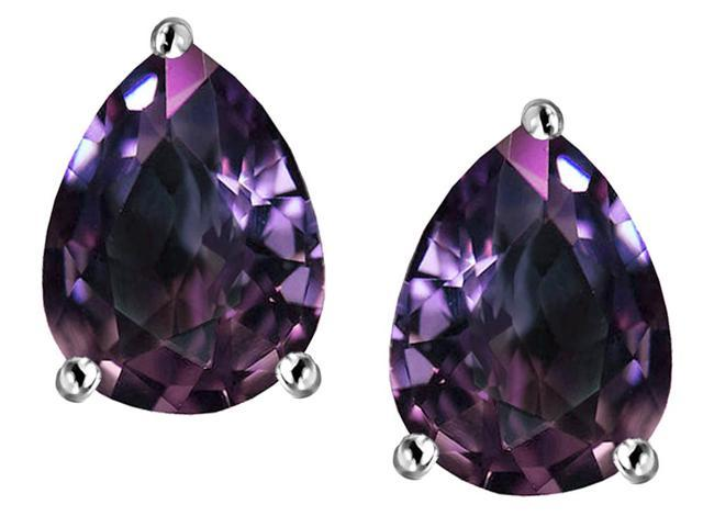 Star K Pear Shape 9x7mm Simulated Alexandrite Earrings Studs in Sterling Silver