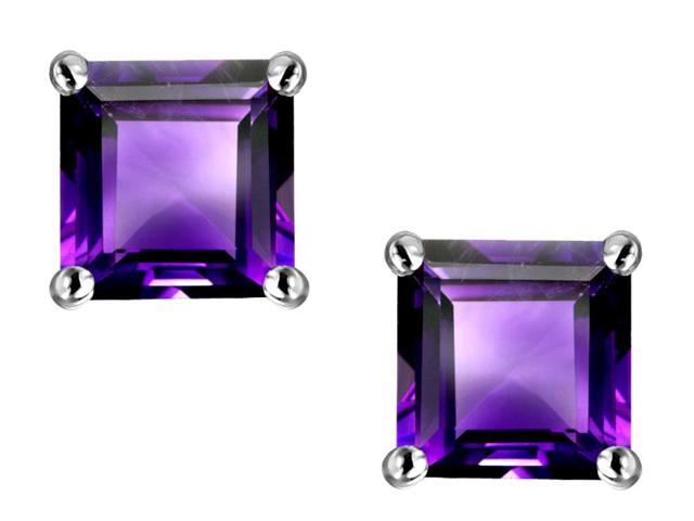 Star K Square 7mm Simulated Amethyst Earring Studs in Sterling Silver