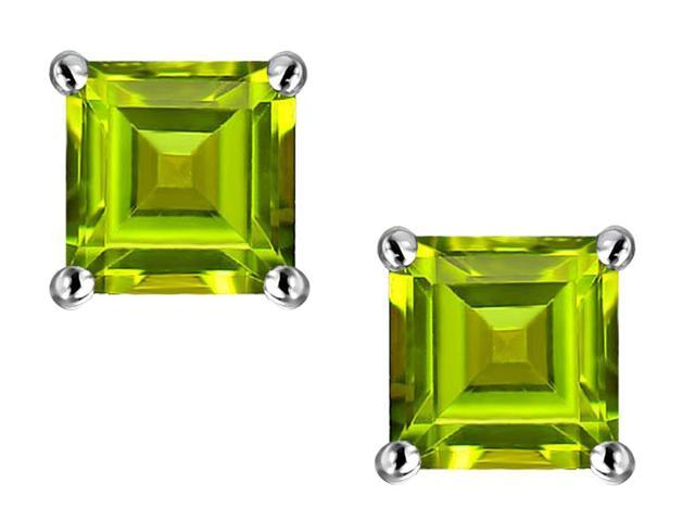Star K Square 7mm Simulated Peridot Earrings Studs in Sterling Silver