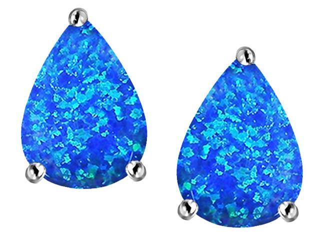 Star K Pear Shape 9x7mm Blue Created Opal Earrings Studs in Sterling Silver