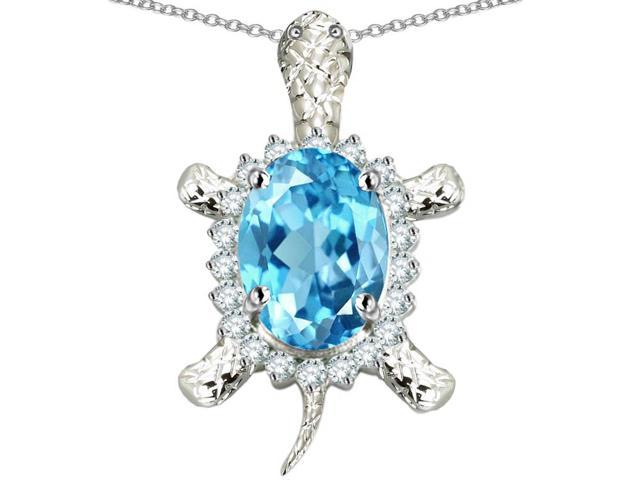 Star K Good Luck Turtle Pendant Necklace with Oval 12x10mm Simulated Aquamarine in Sterling Silver