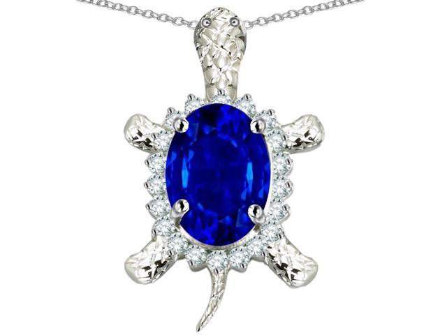 Star K Good Luck Turtle Pendant Necklace with Oval 12x10mm Created Sapphire in Sterling Silver