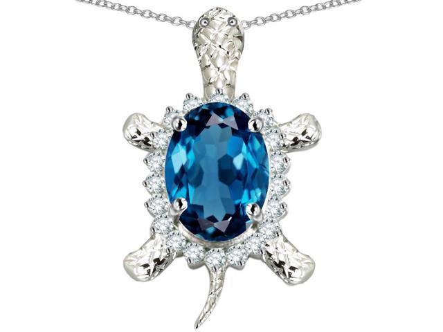 Star K Good Luck Turtle Pendant Necklace with Oval 12x10mm Simulated Blue Topaz in Sterling Silver