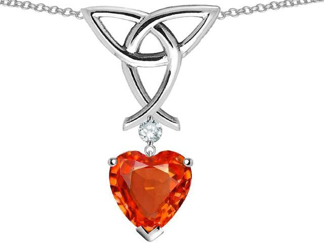 Star K Love Knot Pendant Necklace with Heart Shape 8mm Simulated Fire Mexican Opal in Sterling Silver