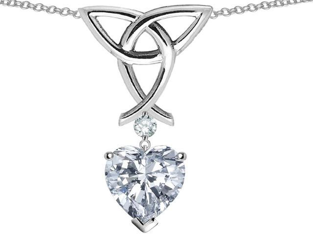 Star K Love Knot Pendant Necklace with 8mm Heart Shape White Topaz in Sterling Silver