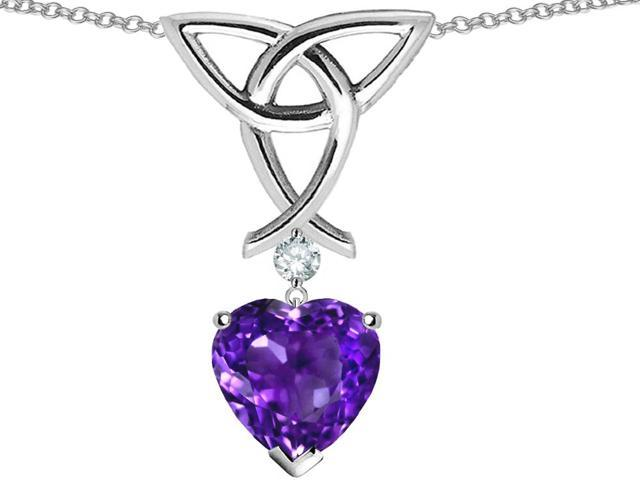 Star K Love Knot Pendant Necklace with 8mm Heart Shape Simulated Amethyst in Sterling Silver