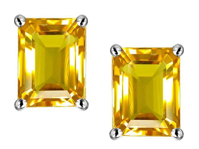 Star K 8x6mm Emerald Cut Simulated Citrine Earrings in Sterling Silver
