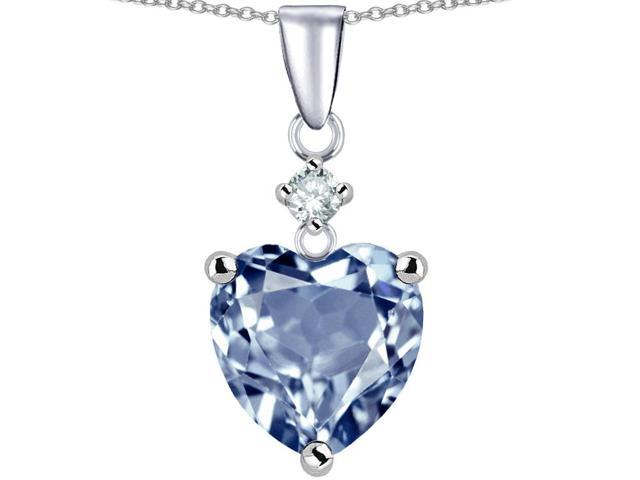 Star K Heart shape 8mm Simulated Aquamarine Pendant Necklace in Sterling Silver