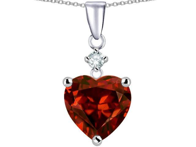 Star K Heart Shape 8mm Simulated Garnet Pendant Necklace in Sterling Silver