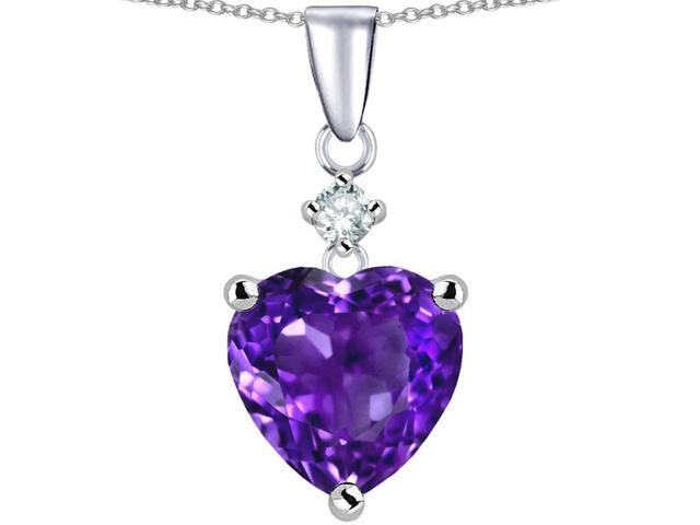 Star K Heart Shape 8mm Simulated Amethyst Pendant Necklace in Sterling Silver