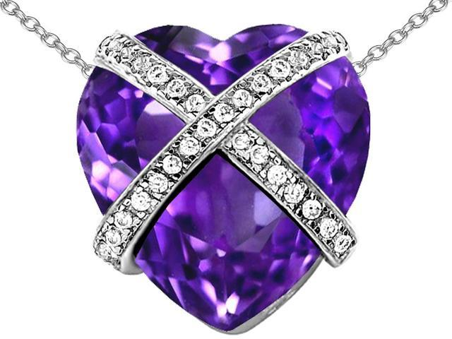 Star K Large Prisoner of Love Heart Pendant Necklace with 15mm Heart Shape Simulated Amethyst in Sterling Silver
