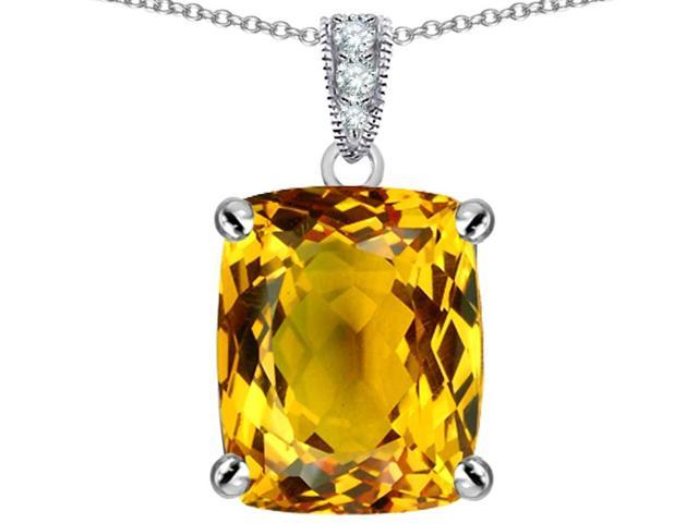 Star K Large 12x10mm Cushion Cut Simulated Citrine Pendant Necklace in Sterling Silver