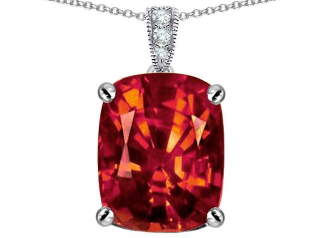 Star K Large 12x10mm Cushion Cut Simulated Orange Mexican Fire Opal Pendant Necklace in Sterling Silver