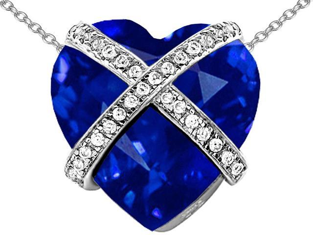 Star K Large Prisoner of Love Heart Pendant Necklace with 15mm Heart Shape Simulated Sapphire in Sterling Silver