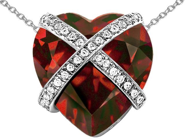 Star K Large Prisoner of Love Heart Pendant Necklace with 15mm Heart Shape Simulated Garnet in Sterling Silver