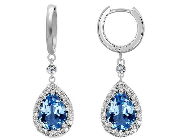 Star K Pear Shape 9x7mm Simulated Blue Topaz Drop Earrings Dangling On Huggie Hoop in Sterling Silver