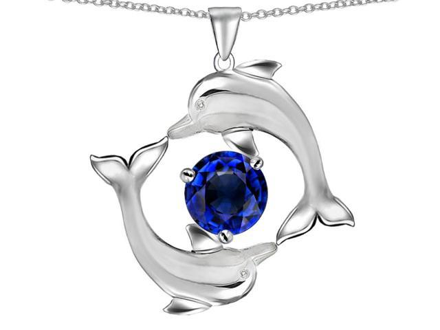 Star K Round 6mm Created Sapphire Dolphin Pendant Necklace in Sterling Silver