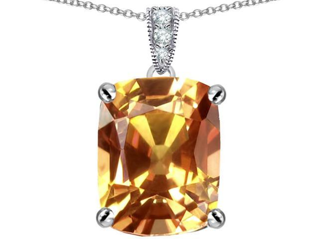 Star K Large 12x10mm Cushion Cut Simulated Imperial Yellow Topaz Pendant Necklace in Sterling Silver