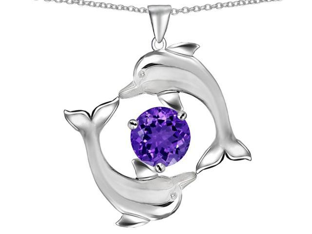 Star K Round Simulated Amethyst Dolphin Pendant Necklace in Sterling Silver