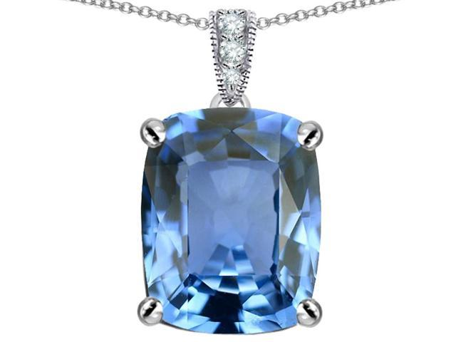 Star K Large 12x10 Cushion Cut Simulated Aquamarine Designer Pendant Necklace in Sterling Silver