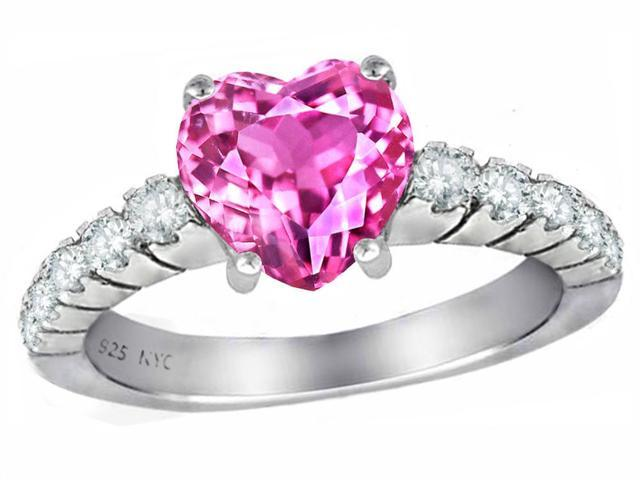 Star K 8mm Heart Shape Created Pink Sapphire Ring in Sterling Silver Size 8