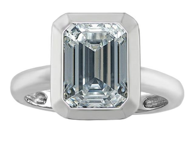 Star K 9x7mm Emerald Cut Octagon Solitaire Ring with Genuine White Topaz in Sterling Silver Size 5