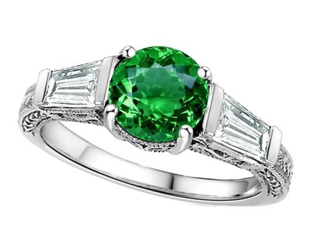 Star K Round 7mm Simulated Emerald Ring in Sterling Silver Size 7
